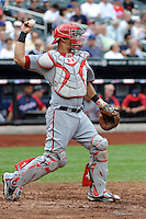 Washington Nationals catcher Wilson Ramos #3 during a game against the New York Mets at Citi Field on September 15, 2011 in Queens, NY.  Nationals defeated Mets11-1.  Tomasso DeRosa/Four Seam Images