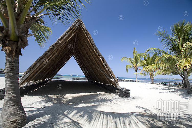 Modern replica of an ancient Hawaiian hale structure at the City of Refuge (Puuhonua) on the Big Island of Hawaii