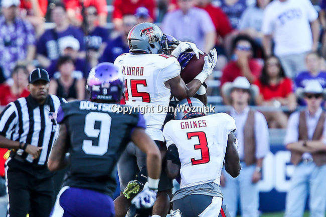 Texas Tech Red Raiders defensive back Keenon Ward (15) in action during the game between the Texas Tech Red Raiders and the TCU Horned Frogs at the Amon G. Carter Stadium in Fort Worth, Texas. TCU defeats Texas Tech 82 to 27.