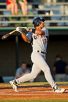 Chris Elder #12 (Oral Roberts) of the USA Baseball Collegiate National Team follows through on his swing against the Gastonia Grizzlies at Sims Legion Park on June 30, 2011 in Gastonia, North Carolina.  Team USA defeated the Grizzlies 12-5.  Brian Westerholt / Four Seam Images