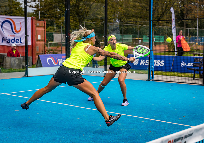 Netherlands, September 6,  2020, Amsterdam, Padel Dam, NK Padel, National Padel Championships, Womans doubles:  Michaella Krajicek (NED) and Steffie Weterings (NED) (L)<br /> Photo: Henk Koster/tennisimages.com