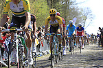 Riders tackle Sector 18 la Trouee de Arenberg during the 113th edition of the Paris-Roubaix 2015 cycle race held over the cobbled roads of Northern France. 12th April 2015.<br /> Photo: Eoin Clarke www.newsfile.ie