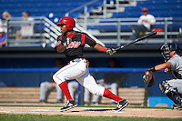 Batavia Muckdogs outfielder Stone Garrett (11) at bat during the first game of a doubleheader against the Mahoning Valley Scrappers on July 2, 2015 at Dwyer Stadium in Batavia, New York.  Batavia defeated Mahoning Valley 4-1.  (Mike Janes/Four Seam Images)
