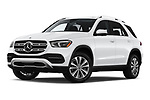 Stock pictures of low aggressive front three quarter view of 2020 Mercedes Benz GLE 350 5 Door SUV Low Aggressive