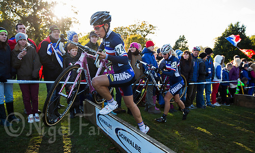 03 NOV 2012 - IPSWICH, GBR - Lucie Chainel-Lefevre (FRA) (left) of France clears a hurdle during the Elite Women's European Cyclo-Cross Championships in Chantry Park, Ipswich, Suffolk, Great Britain (PHOTO (C) 2012 NIGEL FARROW)