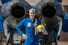 """U.S. Navy Lieutenant Commander John Hlitz '02 flies with the Blue Angels.  """"I take a ton of pride in being from the University of Notre Dame. I'll always be proud to call myself a Notre Dame man,"""" says Hiltz.<br /> <br /> Photo by Matt Cashore/University of Notre Dame"""