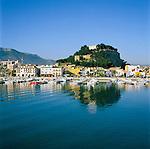 Spain, Costa Blanca, Denia: Harbour and castle of Denia | Spanien, Costa Blanca, Denia: Hafen unterhalb der Burg von Denia