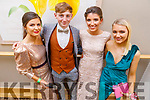 Clodagh Hannon (Listowel), Tom O'Connor (Duagh), Dervla Cronin (Finuge) and Sophie Sugrue (Ballybunion)  attending the Gaelcoláiste Chiarraí Debs in the Ballyroe Heights Hotel on Thursday night.