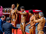 Winners of the Senior Men's Bodybuilding 70kg & below category during the 2016 Hong Kong Bodybuilding Championships on 12 June 2016 at Queen Elizabeth Stadium, Hong Kong, China. Photo by Lucas Schifres / Power Sport Images