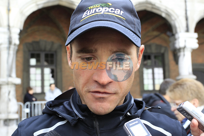 Thomas Voeckler (FRA) Team Europcar arrives at the team presentations at the Palais Provincial in Liege city centre before the 98th edition of Liege-Bastogne-Liege 2012. 21st April 2012.  <br /> (Photo by Eoin Clarke/NEWSFILE).