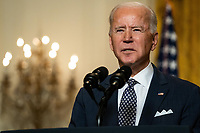 United States President Joe Biden delivers remarks at a virtual event hosted by the Munich Security Conference in the East Room of the White House on February 19, 2021 in Washington, DC. In his remarks, President Biden stressed the United States' commitment to NATO after four years of the Trump administration undermining the alliance.<br /> CAP/MPI/RS<br /> ©RS/MPI/Capital Pictures
