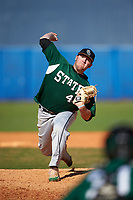 Farmingdale Rams relief pitcher Christopher Reilly (46) delivers a pitch during a game against the Union Dutchmen on February 21, 2016 at Chain of Lakes Stadium in Winter Haven, Florida.  Farmingdale defeated Union 17-5.  (Mike Janes/Four Seam Images)