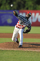 Victor Alcantara #45 of the Burlington  Bees throws against the Clinton LumberKings at Community Field  on July 3, 2014 in Burlington, Iowa. The LumberKings beat the Bees 6-5.   (Dennis Hubbard/Four Seam Images)