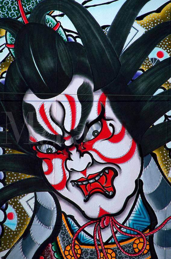 Detail of painting on festival float, Hirosaki, Japan