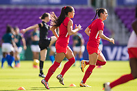 ORLANDO, FL - FEBRUARY 24: Jordyn Listro #21 of the CANWNT before a game between Brazil and Canada at Exploria Stadium on February 24, 2021 in Orlando, Florida.