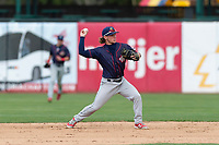 Cedar Rapids Kernels second baseman Hunter Lee (1) during a Midwest League game against the Kane County Cougars at Northwestern Medicine Field on April 28, 2019 in Geneva, Illinois. Kane County defeated Cedar Rapids 3-2 in game one of a doubleheader. (Zachary Lucy/Four Seam Images)