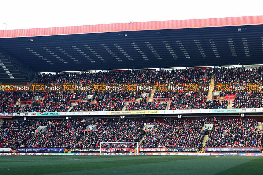 The Covered End was sold out as Charlton supporters returned to The Valley in great numbers after a change of Owner during Charlton Athletic vs Barnsley, Sky Bet EFL Championship Football at The Valley on 1st February 2020