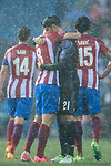 Alvaro Morata (r) of Real Madrid hugs Saul Niguez Esclapez of Atletico de Madrid during their 2016-17 UEFA Champions League Semifinals 2nd leg match between Atletico de Madrid and Real Madrid at the Estadio Vicente Calderon on 10 May 2017 in Madrid, Spain. Photo by Diego Gonzalez Souto / Power Sport Images