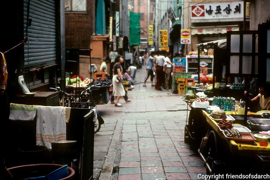 So. Korea: Pusan--Narrow street in market area. Photo '81.