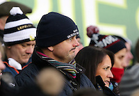 SWANSEA, WALES - FEBRUARY 07: A disappointed Swansea supporter looks on as players walk off the pitch after the Premier League match between Swansea City and Sunderland AFC at Liberty Stadium on February 7, 2015 in Swansea, Wales.