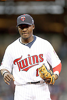 April 2, 2010: Orlando Hudson of the Minnesota Twins in the first professional baseball game played at the Twins new home, Target Field. Photo by: Chris Proctor/Four Seam Images