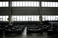 CHINA. Hebei.  Inside a factory producing wind turbines in Baoding City near Beijing, the world's first 'carbon positive' town. The town's main industires focus on producing wind and solar technologies. 2009