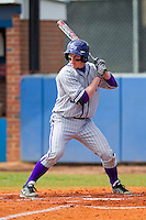 Blake Hutton (37) of the High Point Panthers at bat against the Presbyterian Blue Hose at the Presbyterian College Baseball Complex on March 3, 2013 in Clinton, South Carolina.  The Blue Hose defeated the Panthers 4-1.  (Brian Westerholt/Four Seam Images)