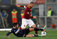 Calcio, Serie A: Roma vs Inter. Roma, stadio Olimpico, 1 marzo 2014.<br /> AS Roma midfielder Daniele De Rossi, right, is tackled by FC Inter midfielder Gabriel Alvarez, of Argentina, during the Italian Serie A football match between AS Roma and FC Inter at Rome's Olympic stadium, 1 March 2014.<br /> UPDATE IMAGES PRESS/Riccardo De Luca