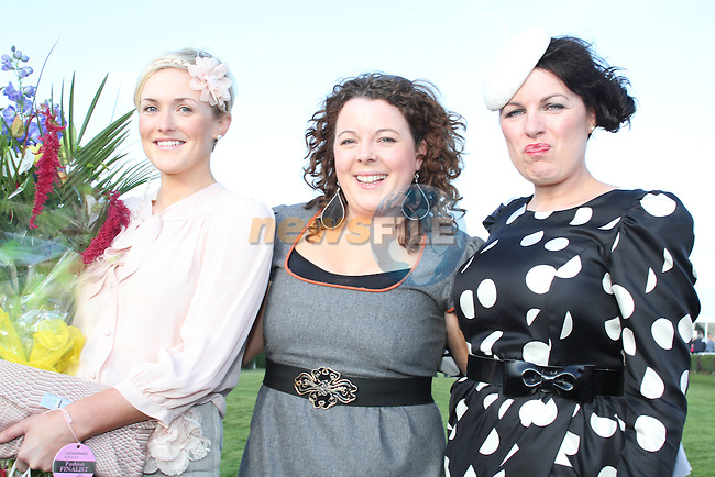 Best Dressed Lady Competition Judge Triona McCarthy with Winner Wendy McKay Wogan from Drogheda at the Bellewstown Races...Picture Jenny Matthews/Newsfile.ie