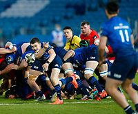 23th April 2021; RDS Arena, Dublin, Leinster, Ireland; Rainbow Cup Rugby, Leinster versus Munster; Hugh O'Sullivan of Leinster passes the ball out of the ruck