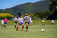 Action from the 2019 National Age Group Tournament Under-16 Girls football match between Auckland and Northern at Memorial Park in Petone, Wellington, New Zealand on Wednesday, 11 December 2019. Photo: Dave Lintott / lintottphoto.co.nz