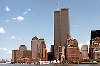 N.Y. : New York City--Battery Park City and World Trade Center from Staten Island Ferry, Summer '91.