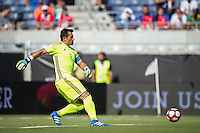 Orlando, Florida - Saturday, June 04, 2016: Paraguayan goalkeeper Justin Villar (1) plays the ball out of the back during a Group A Copa America Centenario match between Costa Rica and Paraguay at Camping World Stadium.