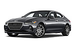 Stock pictures of low aggressive front three quarter view of 2020 Genesis G70 Prestige 4 Door Sedan Low Aggressive