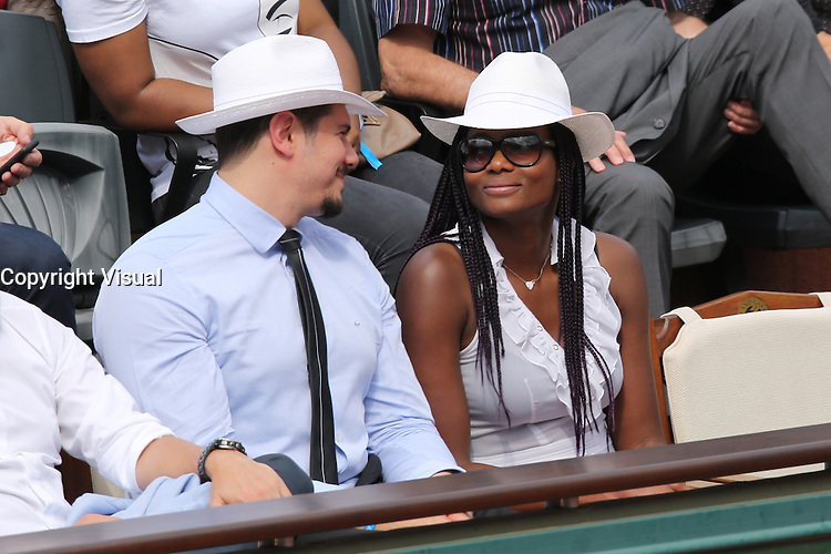 Vincent Parisi and Muriel Hurtis seen watching tennis during Roland Garros tennis open 2016 on may 27 2016.