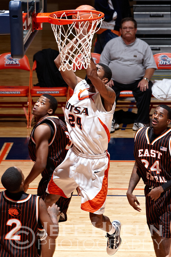 SAN ANTONIO , TX - NOVEMBER 18, 2009: The East Central University Tigers vs. The University of Texas At San Antonio Roadrunners Men's Basketball at the UTSA Convocation Center. (Photo by Jeff Huehn)