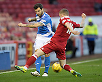 Aberdeen v St Johnstone…10.12.16     Pittodrie    SPFL<br />Richie Foster is closed down by Jonny Hayes<br />Picture by Graeme Hart.<br />Copyright Perthshire Picture Agency<br />Tel: 01738 623350  Mobile: 07990 594431