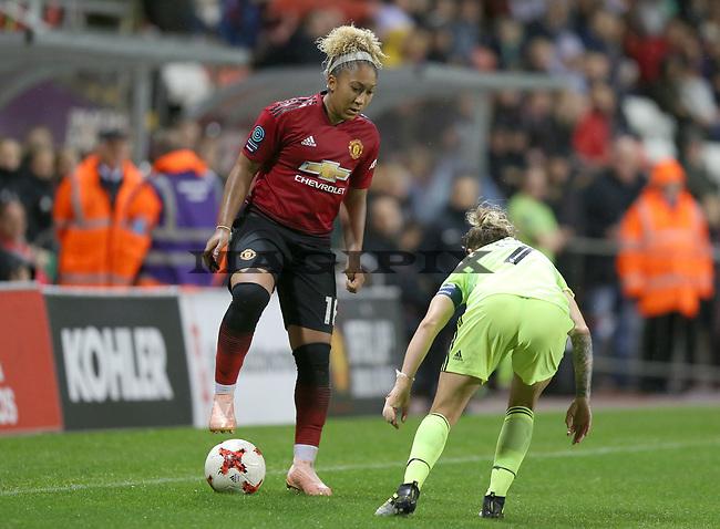 Kirsty Hanson of Manchester United Women outshines Ellie Gilliatt of Sheffield Utd Women