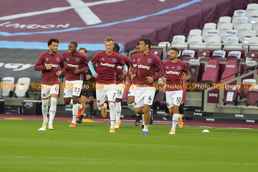 West Ham players arrive on the pitch during West Ham United vs Charlton Athletic, Caraboa Cup Football at The London Stadium on 15th September 2020