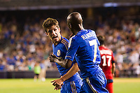 Lucas Piazon (46) of Chelsea FC celebrates scoring with Ramires (7). Chelsea FC and Paris Saint-Germain played to a 1-1 tie during a 2012 Herbalife World Football Challenge match at Yankee Stadium in New York, NY, on July 22, 2012.