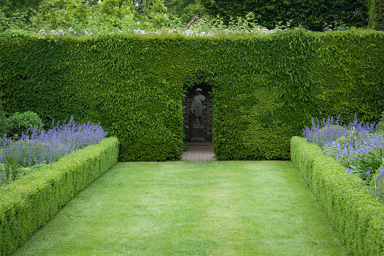 Box-edged double herbaceous borders at Clinton Lodge Garden, Fletching, East Sussex, mid June. Containing blue Geraniums and Nepeta.