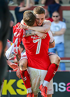 Ash Huner of Fleetwood Town (rear) celebrates after he scores his team's first goal during the Sky Bet League 1 match between Fleetwood Town and Peterborough at Highbury Stadium, Fleetwood, England on 19 April 2019. Photo by Stefan Willoughby.