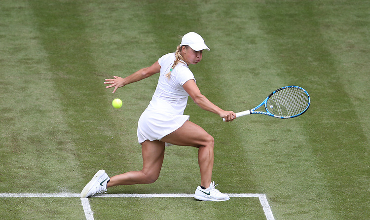 Yulia Putintseva (KAZ) during her match against Naomi Osaka (JPN) in their Ladies' Singles First Round match<br /> <br /> Photographer Rob Newell/CameraSport<br /> <br /> Wimbledon Lawn Tennis Championships - Day 1 - Monday 1st July 2019 -  All England Lawn Tennis and Croquet Club - Wimbledon - London - England<br /> <br /> World Copyright © 2019 CameraSport. All rights reserved. 43 Linden Ave. Countesthorpe. Leicester. England. LE8 5PG - Tel: +44 (0) 116 277 4147 - admin@camerasport.com - www.camerasport.com