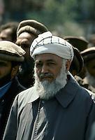 Afghan President Borhan'udin Rabani and on the left, the General Abdul Quassim Fahim.