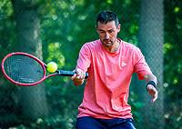 Hilversum, The Netherlands,  August 18, 2020,  Tulip Tennis Center, NKS, National Senior Championships, Men's single 35 + ,  Eric Reuijl (NED) <br /> Photo: www.tennisimages.com/Henk Koster