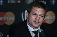 Richie McCaw of New Zealand speaks to the media at the World Rugby Awards 2015  - 01/11/2015 - Battersea Evolution, London<br /> Mandatory Credit: Rob Munro/Stewart Communications