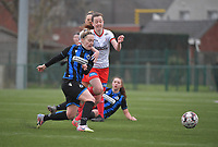 Celien Guns (10) of Club Brugge and Summer Rogiers (8) of Zulte-Waregem  pictured during a female soccer game between SV Zulte - Waregem and Club Brugge YLA on the 13 th matchday of the 2020 - 2021 season of Belgian Scooore Womens Super League , saturday 6 th of February 2021  in Zulte , Belgium . PHOTO SPORTPIX.BE   SPP   DIRK VUYLSTEKE