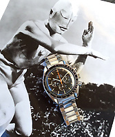 BNPS.co.uk (01202 558833)<br /> Pic: GardinerHoulgate/BNPS<br /> <br /> The rare Omega's are named 'Ultraman' after appearing in a cult sci-fi series in Japan.<br /> <br /> £40,000 Antiques Roadshow suprise find heads for auction...<br /> <br /> An extremely rare watch a British seaman bought for £35 as a 21st birthday present in the Far East is now tipped to sell for a whopping £40,000.<br /> <br /> There were only 50 red hand 'Ultraman' Speedmasters ever made, and unknown to Roger he had bought one nearly 50 years ago.<br /> <br /> Now retired, Roger Cooper(71) acquired the Omega Speedmaster new while serving in the Merchant Navy on the steamer 'Chitral' in Hong Kong in 1968.<br /> <br /> He spent £35, almost a month's wage at the time, on the timepiece, buying it from a wholesaler he had become friendly with. But it has proved a shrewd investment as it has increased over 1,000 times in value in the intervening five decades.<br /> <br /> Grandfather of two Mr Cooper, from Havant, Hants, has now decided to auction it with Gardiner Houlgate, of Corsham, Wilts.