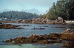 Sea kayakers, Barkley Sound, Broken Islands, Pacific Rim National Park, Vancouver Island, British Columbia, Canada, Clark Island,