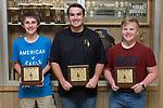 November 1, 2017- Tuscola, IL- Warrior Boys Golf award recipients. From left are Caleb Arends (Most Improved), Ethan Stumeier (Warrior Spirit), and Matthew Erickson (MVP). [Photo: Douglas Cottle]